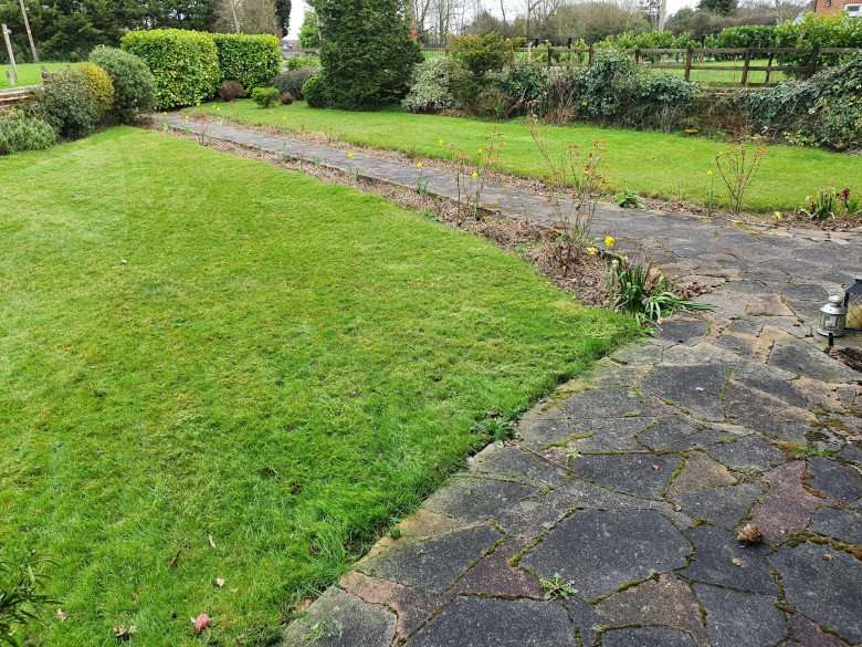 Front Walled garden ready for a robot mower